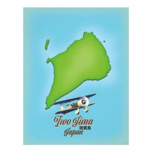Iwo Jima Japan island map Photo Print