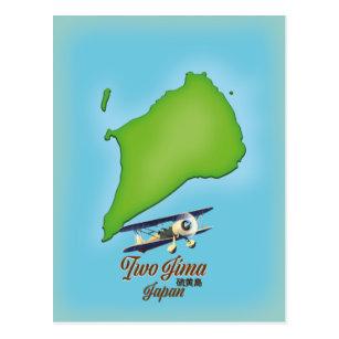 Iwo Jima Japan island map Postcard
