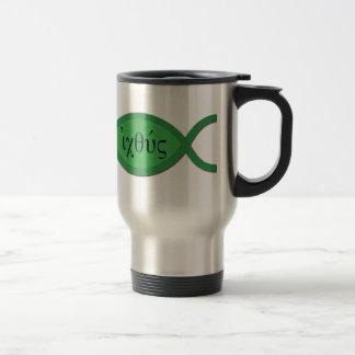 IXOYE Christian Fish Symbol - Green Parchment Coffee Mugs