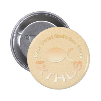IXTHUS Christian Fish Symbol - GOLD Pinback Buttons