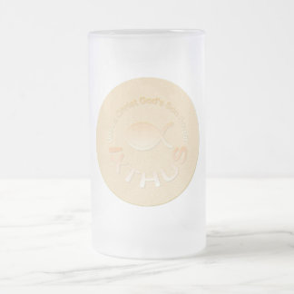 IXTHUS Christian Fish Symbol - GOLD Frosted Glass Mug