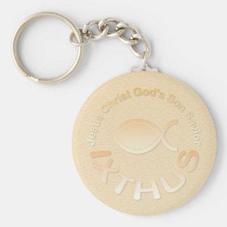 IXTHUS Christian Fish Symbol - GOLD Key Ring