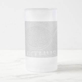 IXTHUS Christian Fish Symbol - Silver Frosted Glass Beer Mug