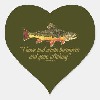 Izaak Walton Fishing Quote Heart Sticker