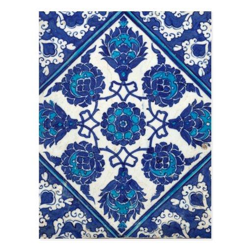 Iznik Floral Ethnic Tribal Turkish Mosaic Pottery Post Card