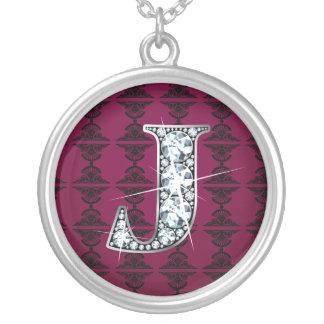 """""""J"""" Diamond Bling on Damask Necklace"""