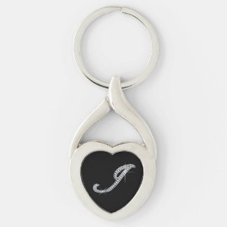 "J Faux-""Diamond Bling"" Silver-Colored Twisted Heart Key Ring"