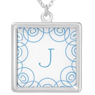 """J"" initial in Blue Scroll on White, Fun Design Custom Necklace"