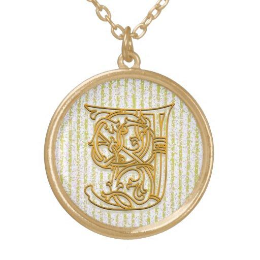 "J Initial Monogram ""Gold Pin Stripe"" Necklace Custom Necklace"