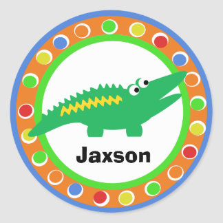 J is for Jungle Alligator Round Sticker