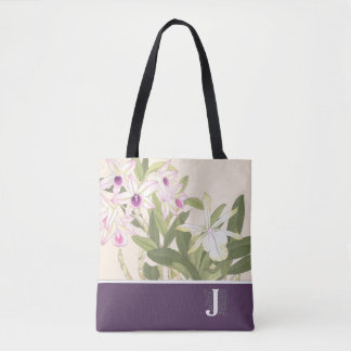 """J"" Japanese Wood Block Print Orchid Tote Bag"
