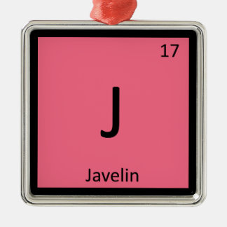 J - Javelin Track and Field Chemistry Symbol Metal Ornament