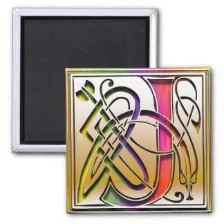 "J Monogram ""Celtic Rainbow"" Square Magnet"