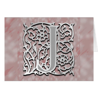 """J Monogram """"Silver Stone"""" Note Card Greeting Card"""