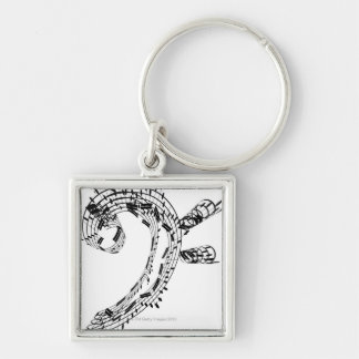 J.S.Bach's Cello Suite Silver-Colored Square Key Ring