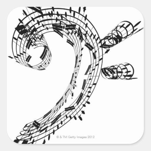 J.S.Bach's Cello Suite Square Stickers