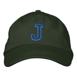 """""""J"""" Small Athletic Letter Embroidered Baseball Caps"""