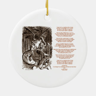 Jabberwocky Poem by Lewis Carroll Round Ceramic Decoration