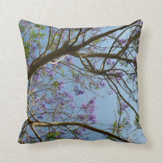 jacaranda tree branches flowers sky cushion