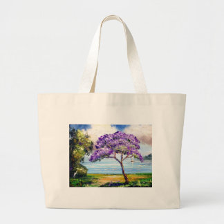 Jacaranda Tree Tropical Art Large Tote Bag