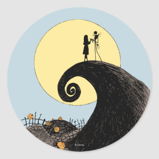 Jack and Sally | Moon Silhouette Classic Round Sticker