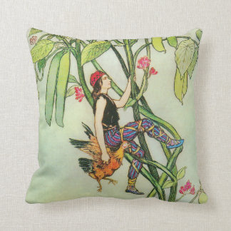 Jack and the Beanstalk Warwick Goble Fine Art Throw Pillow