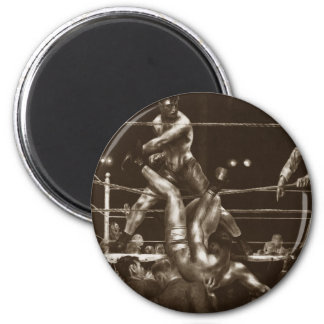 Jack Dempsey and Luis Firpo by George Bellows 6 Cm Round Magnet