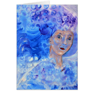 Jack Frost Winter Blue Christmas Art Card Girl Art