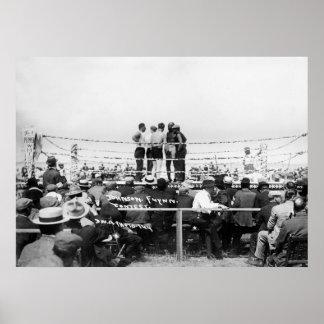 Jack Johnson vs. Fireman Jim Flynn Boxing: 1912 Poster