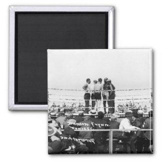 Jack Johnson vs. Fireman Jim Flynn Boxing: 1912 Square Magnet