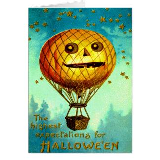 Jack O' Lantern Air Balloon Greeting Card