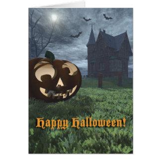 Jack-O-Lantern and Haunted House Halloween Card