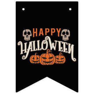 Jack O' Lantern and Skulls.  Happy Halloween. Bunting