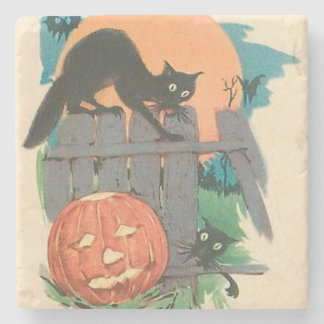 Jack O' Lantern Black Cat Bat Full Moon Stone Coaster