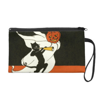 Jack O' Lantern Black Cat Ghost Horn Wristlet Purses