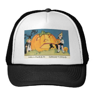 Jack O Lantern Black Cat Mushroom Pilgrim Cap