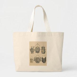 Jack O' Lantern Black Cat Vintage Lanterns Jumbo Tote Bag