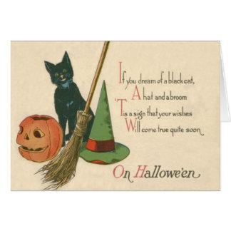 Jack O' Lantern Black Cat Witch's Hat Broom Card