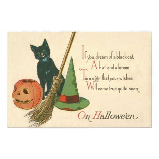 Jack O' Lantern Black Cat Witch's Hat Broom Photo Print