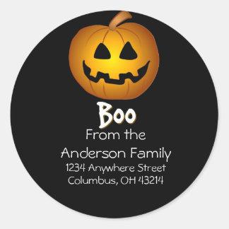 Jack O Lantern Boo Address Labels Round Sticker