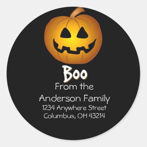 Jack O Lantern Boo Address Labels Sticker