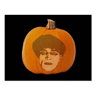 Jack o' Lantern Caligari Face, Halloween Pumpkin Postcard
