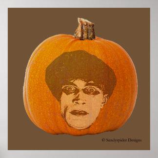 Jack o' Lantern Caligari Face, Halloween Pumpkin Poster