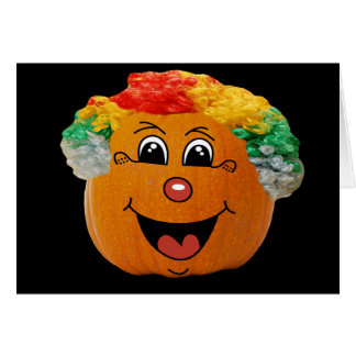 Jack o' Lantern Clown Face, Halloween Pumpkin Card