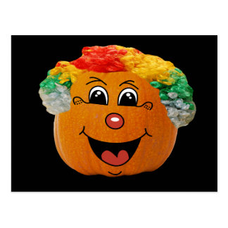 Jack o' Lantern Clown Face, Halloween Pumpkin Postcard