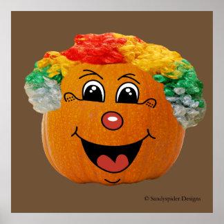 Jack o' Lantern Clown Face, Halloween Pumpkin Poster