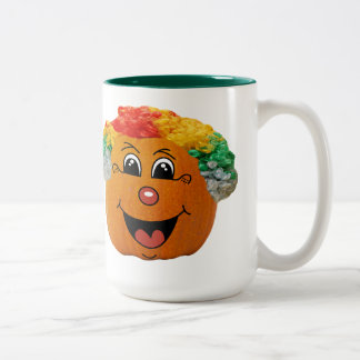 Jack o' Lantern Clown Face, Halloween Pumpkin Two-Tone Coffee Mug