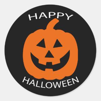Jack-O-Lantern Curve Text Happy Halloween on Black Classic Round Sticker