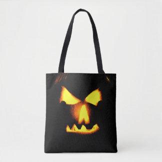 Jack O Lantern Face Print Halloween Tote Bag