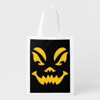 Jack-o-lantern Face Reusable Grocery Bags
